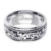14K Gold 9mm Handmade Wedding Ring 063 Almani