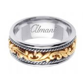 18K Gold 9mm Handmade Two Tone Wedding Ring 064 Almani