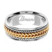14k Gold 8mm Handmade Two Tone Wedding Ring 066 Almani