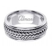 14K Gold 8mm Handmade Wedding Ring 067 Almani