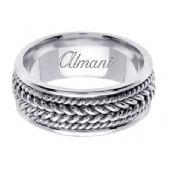18K Gold 8mm Handmade Wedding Ring 067 Almani
