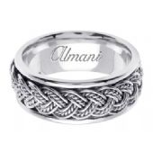 14K Gold 8mm Handmade Wedding Ring 071 Almani
