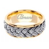 14k Gold 8mm Handmade Two Tone Wedding Ring 072 Almani