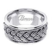 18K Gold 10mm Handmade Wedding Ring 074 Almani