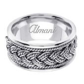 950 Platinum 10mm Handmade Wedding Ring 074 Almani