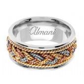 950 Platinum & 18K Gold 9mm Tri-Color Wedding Ring 075 Almani