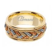 18K Gold 9mm Handmade Tri-Color Wedding Ring 076 Almani