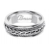 18K Gold 7mm Handmade Wedding Ring 089 Almani