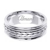 18K Gold 8mm Handmade Wedding Ring 096 Almani