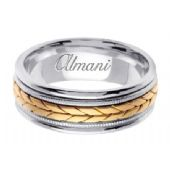 14k Gold 8mm Handmade Two Tone Wedding Ring 097 Almani