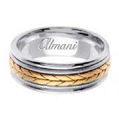 18K Gold 8mm Handmade Two Tone Wedding Ring 097 Almani