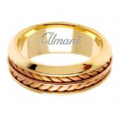 18K Gold 8mm Handmade Two Tone Wedding Ring 100 Almani