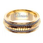 18K Gold 8mm Handmade Two Tone Wedding Ring 110 Almani