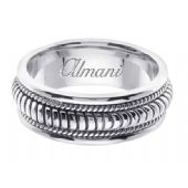 14K Gold 8mm Handmade Wedding Ring 111 Almani