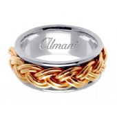 18K Gold 10mm Handmade Two Tone Wedding Ring 112 Almani