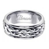 18K Gold 8mm Handmade Wedding Ring 115 Almani