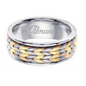 14k Gold 8mm Handmade Two Tone Wedding Ring 118 Almani
