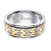 18K Gold 8mm Handmade Two Tone Wedding Ring 118 Almani