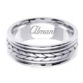 950 Platinum 8mm Handmade Wedding Ring 096 Almani