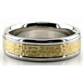950 Platinum & 18K Gold 6.5mm Hammered Wedding Bands Rings 202