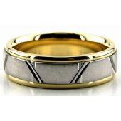 950 Platinum & 18K Gold 6.5mm Trapezoid Diamond Cut Wedding Bands 224