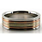 950 Platinum & 18K Gold 6.5mm Square Shape Layered Wedding Bands 226