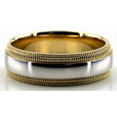 950 Platinum & 18K Gold Double Milgrain 6.5mm Wedding Bands 228