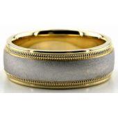 950 Platinum & 18K Gold 7mm Double Milgrain Wedding Bands 229