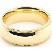 14k Yellow Gold 7mm Milgrain Wedding Band Heavy Weight Comfort Fit