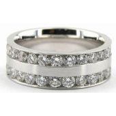 18k Gold 7mm Diamond Wedding Bands Rings 0901