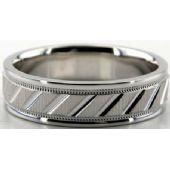 Platinum 950 6.5mm Diamond Cut Wedding Band 691