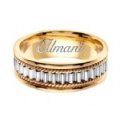 14k Gold 7mm Handmade Two Tone Wedding Ring 150 Almani