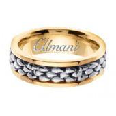 18k Gold 7mm Handmade Two Tone Wedding Ring 153 Almani