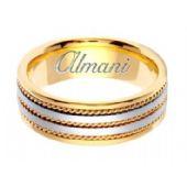 14k Gold 7mm Handmade Two Tone Wedding Ring 155 Almani