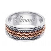 14k Gold 8mm Handmade Two Tone Wedding Ring 168 Almani