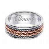 18k Gold 8mm Handmade Two Tone Wedding Ring 168 Almani