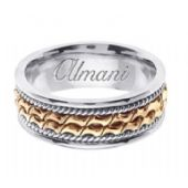 14k Gold 8mm Handmade Two Tone Wedding Ring 170 Almani