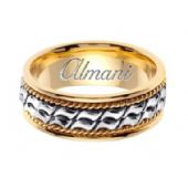 14k Gold 8mm Handmade Two Tone Wedding Ring 171 Almani