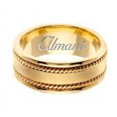14K Gold 8mm Handmade Wedding Ring 176 Almani