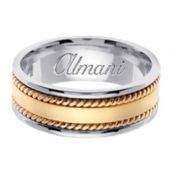14k Gold 8mm Handmade Two Tone Wedding Ring 177 Almani