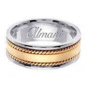 18k Gold 8mm Handmade Two Tone Wedding Ring 177 Almani