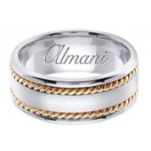 18k Gold 8mm Handmade Two Tone Wedding Ring 178 Almani