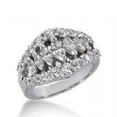 950 Platinum Diamond Anniversary Wedding Ring 7 Marquise Shaped, 18 Round Brilliant Diamonds Total 2.35ctw 308WR1356PLT