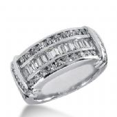 18k Gold Diamond Anniversary Wedding Ring 28 Round Brilliant, 12 Straight Baguette Diamonds 1.16ctw 395WR164818K
