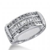 18k Gold Diamond Anniversary Wedding Ring 28 Round Brilliant, 12 Straight Baguette Diamonds 1.16ctw 395WR164818K