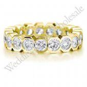 18K Gold 4mm Diamond Wedding Bands Rings 0906