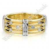 18K Gold 7.5mm Diamond Wedding Bands Rings 0914