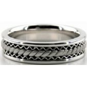14k White Gold 6mm Handmade Wedding Band Wave And Braid Design 029