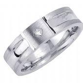 14K Gold Princess Cut Bezel Set 6.5mm Comfort Fit Diamond Band 0.07ctw 1111