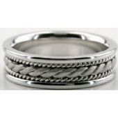 14k White Gold 6.5mm Handmade Wedding Band Rope Design 005